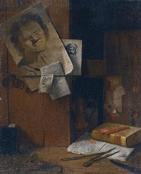 a corner of the artist's studio: a trompe l'oeil still life with sheets of drawings, keys, a pince-nez, books and writing instruments by antonio cioci