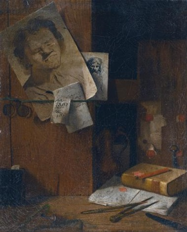 a corner of the artists studio a trompe loeil still life with sheets of drawings keys a pince nez books and writing instruments by antonio cioci