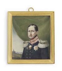 frederick william iii (1770-1840), king of prussia 1797-1840, in double-breasted blue uniform with silver-braided scarlet collar and silver epaulettes by franz krüger