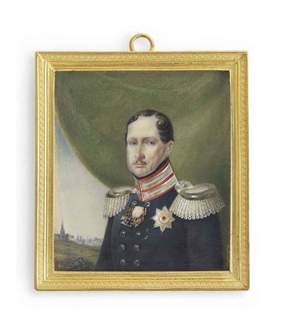 frederick william iii 1770 1840 king of prussia 1797 1840 in double breasted blue uniform with silver braided scarlet collar and silver epaulettes by franz krüger