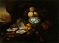 stillleben mit pfirsichen und weintrauben in einer chinesischen ming-schale sowie austern, kirschen einer zitrone und pflaumen by jan frans van son