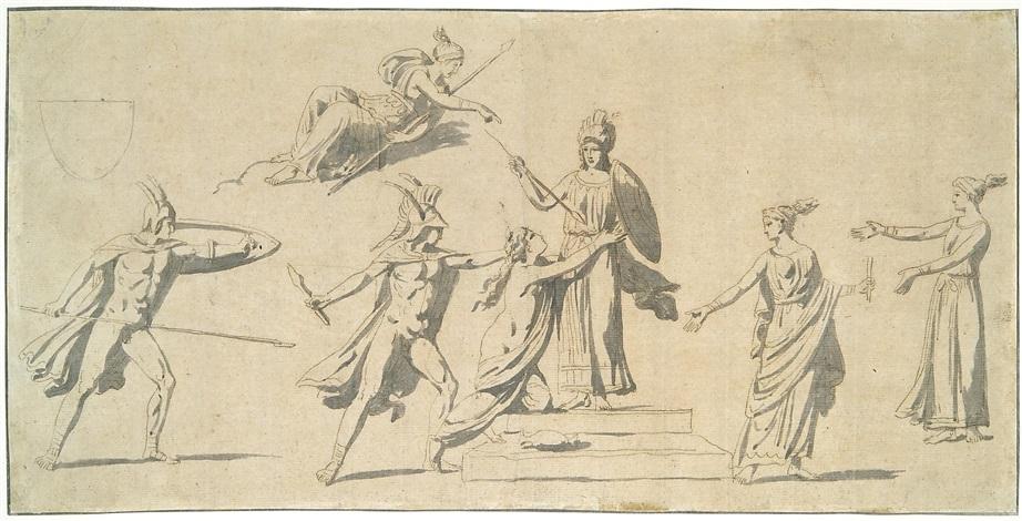 athena umgeben von vestalinnen wird von kriegern angegriffen design by jacques louis david