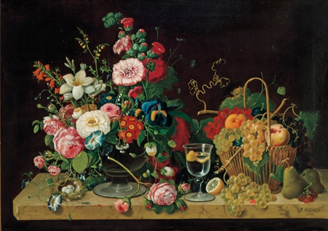 flowers and fruit on a marbletop by severin roesen