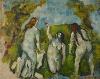 trois baigneuses by émile bernard