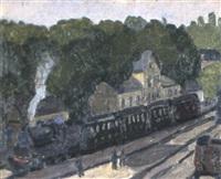 bahnstation mit einfahrender dampflokomotive by alexandre rochat