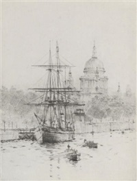 "scott's ""discovery"" moored on the embankment (+ the pool of london; pair) by roland langmaid"