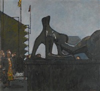 homage to henry moore, reclining figure: festival by ruskin spear