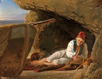 ruhender fischer auf capri by e. meyer