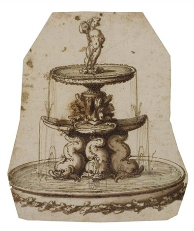 study of a fountain with tritons by german school augsburg 16