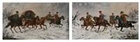 paysage enneigé animé de cosaques à cheval (pair) by aleksandr zacharov