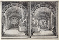 the inhabited tree; alley of fountains; two views of a grotto (3 plates from the series of 6 views of the villa at pratolino) by stefano della bella