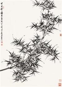 墨竹 立轴 水墨纸本 by xu zihe