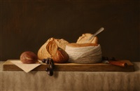 still life with sheep's cheese and two figs by stuart morle