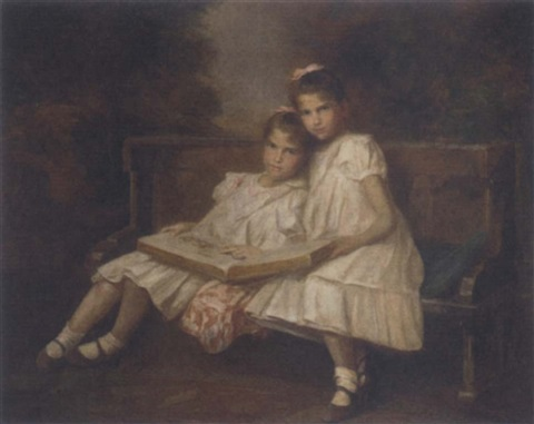 twins reading in the garden by innocent