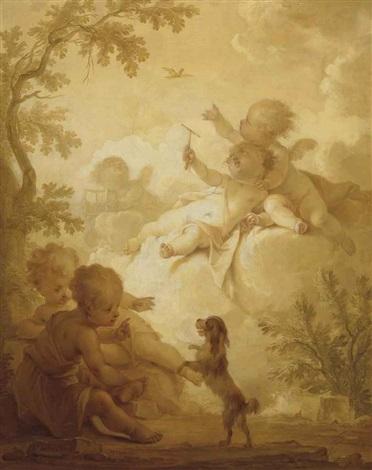 putti in a wooded landscape with a bird and a lap dog by dirk van der aa
