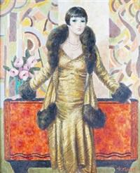élégante à la robe jaune à parements de fourrure by francois batet