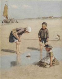 children on the beach by david adolf constant artz