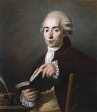 portrait of cesaire gabriel gerac (1755-1836), half-length, in a rust coat and red stock, holding an open book in his hands by jean voilles