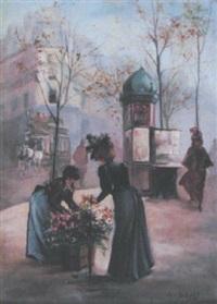 élégante et marchande de fleurs by léonie le bas