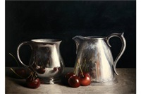 still life with silverware and cherries by stuart morle