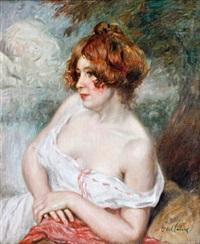 portrait de femme au corsage blanc by jules-abel faivre
