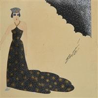 élégante en robe noire et dorée avec sa coiffe by erté