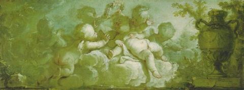 an overdoor putti desporting on clouds by a vase on pedestal by dirk van der aa