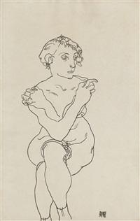 sitzender akt mit überkreuzten armen und beinen (seated female nude, arms and legs crossed) by egon schiele