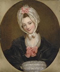 portrait of a lady (the artist's wife?) in a black dress with a pink bow and a lace cap and muff by rev. matthew william peters