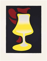 red jug and lamp by patrick caulfield