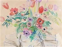 anemones et tulipes, vase bombe by raoul dufy