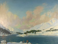 highland loch in snow by william douglas macleod