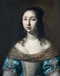 portrait de femme en robe bleue brodée by le nain brothers