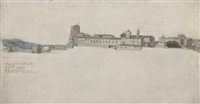 view of the torre delle milizie and the convent of santa caterina a magnanapoli, rome by jean grandjean