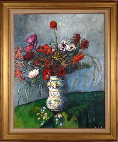 bouquet de fleurs dans un vase albarello by pierre paul girieud