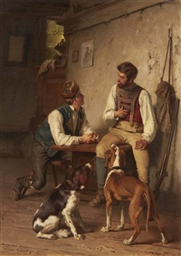 Two Men with Dogs in an Interior, 1879