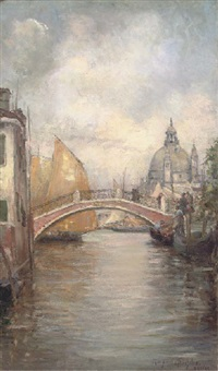trading vessels before a venetian bridge by margaret moscheles
