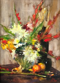 bouquet with fruit still life by laura robb