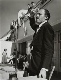 tel-aviv. novembre 1950, menahem begin, chef de l'irgoun, un parti de droite terroriste juif. discours contre ben gourion by robert capa