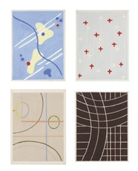 quatre projets de tapis (for metz & co.; 4 works in 1 frame) by koen limperg
