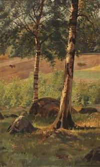landscape with birch trees and horses by frants peter didrik henningsen