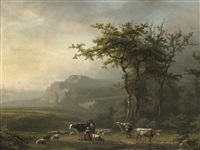 milking a cow in a mountainous landscape by alexander joseph daiwaille