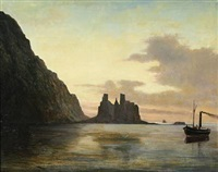 ships by the faroe islands at sunset by fredrich theodor kloss