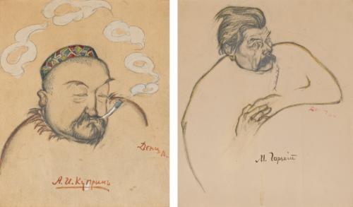 two portraits alexander kuprin maxim gorky lrgr 2 works by viktor deni