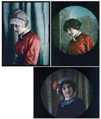 coiffes (3 works) by edmond goldschmidt