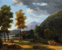 arcadian landscape with figures by jean victor bertin