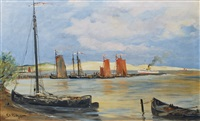 arriving passenger steamer in the harbour of rossitten (rybatschi) by karl heinz rottger