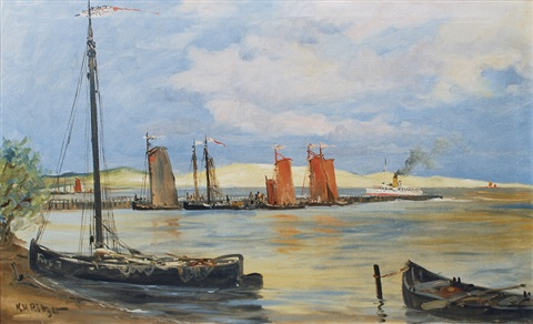 arriving passenger steamer in the harbour of rossitten rybatschi by karl heinz rottger