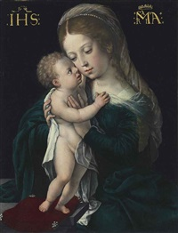 the virgin with the christ child standing on a pillow by bernaert (barend) van orley
