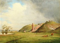 hilly landscape from hald ege with cows by ruins by carl frederik peder aagaard